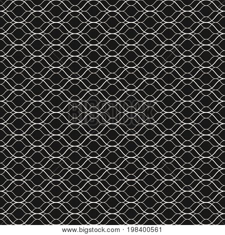 Vector seamless pattern, thin wavy lines. Dark texture of mesh, fishnet, lace, weaving subtle lattice. Monochrome abstract geometric background. Design for prints, decor, fabric, cloth, digital, web.