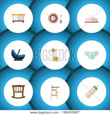 Flat Icon Kid Set Of Tissue, Child Chair, Toy And Other Vector Objects