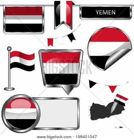 Glossy Icons With Flag Of Yemen
