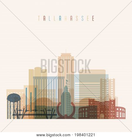 Tallahassee state Florida skyline detailed silhouette. Transparent style. Trendy vector illustration.