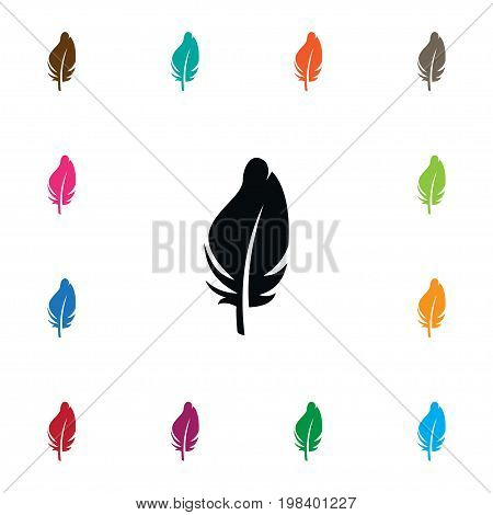 Plumage Vector Element Can Be Used For Plumage, Feathering, Quill Design Concept.  Isolated Quill Icon.