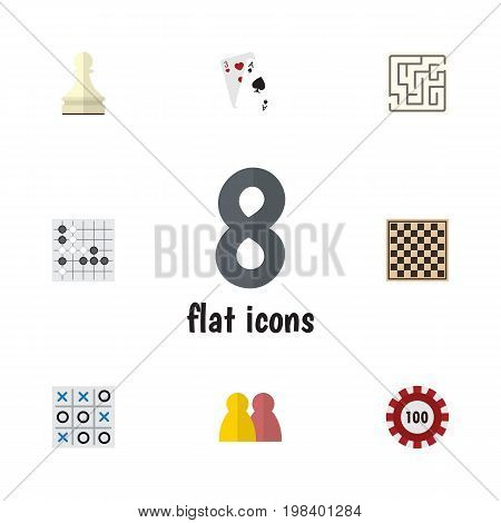 Flat Icon Entertainment Set Of Poker, Ace, People And Other Vector Objects