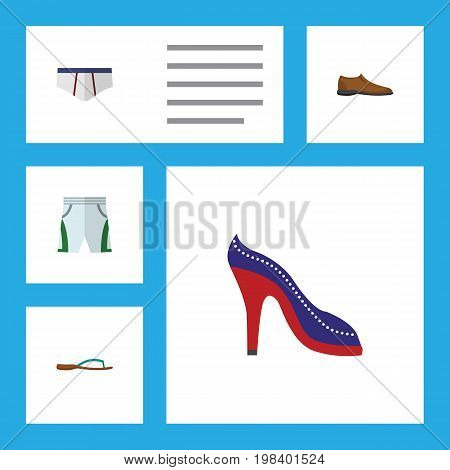 Flat Icon Garment Set Of Male Footware, Trunks Cloth, Heeled Shoe And Other Vector Objects