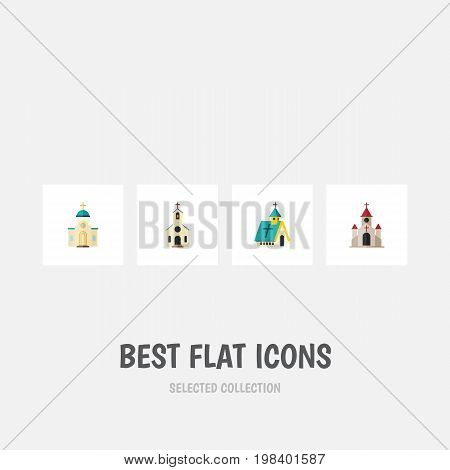 Flat Icon Christian Set Of Traditional, Building, Religious And Other Vector Objects