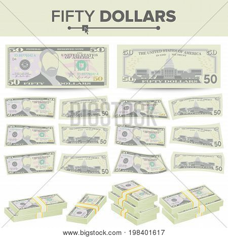 50 Dollars Banknote Vector. Cartoon US Currency. Two Sides Of Fifty American Money Bill Isolated Illustration