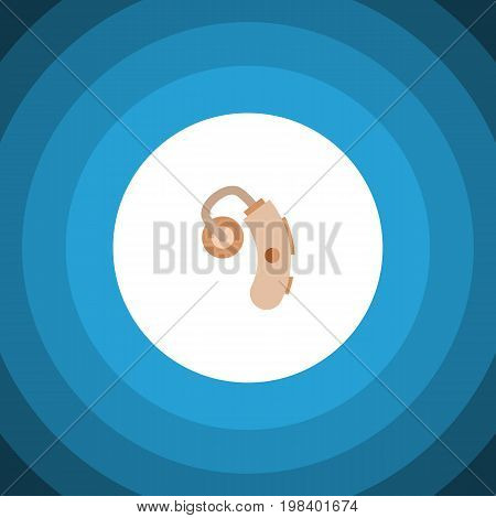 Audiology Vector Element Can Be Used For Hearing, Aid, Audiology Design Concept.  Isolated Hearing Aid Flat Icon.