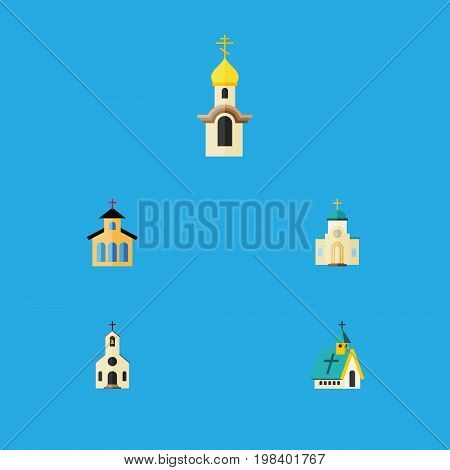 Flat Icon Building Set Of Religious, Catholic, Architecture And Other Vector Objects