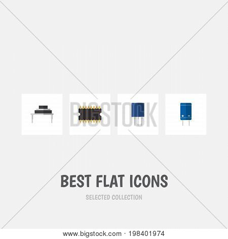 Flat Icon Appliance Set Of Transistor, Receptacle, Destination And Other Vector Objects