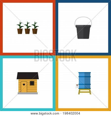 Flat Icon Garden Set Of Pail, Stabling, Container And Other Vector Objects