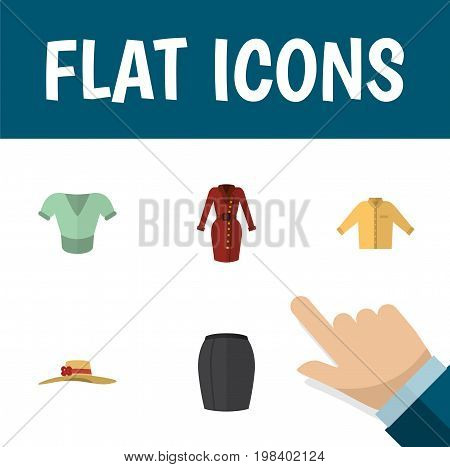Flat Icon Garment Set Of Casual, Clothes, Elegant Headgear And Other Vector Objects