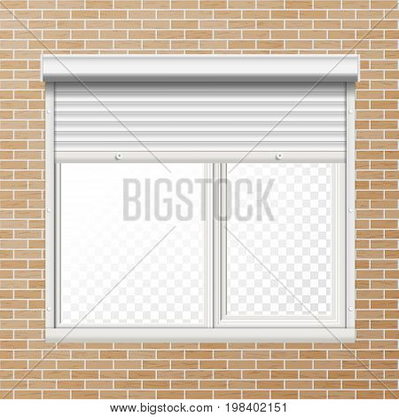 Window With Rolling Shutters Vector. Brick Wall. Front View. Illustration