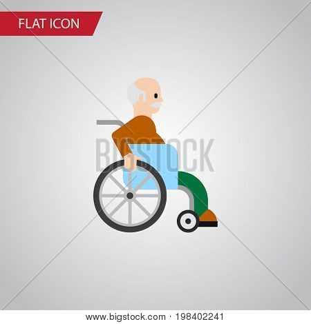 Handicapped Man Vector Element Can Be Used For Handicapped, Man, Disabled Design Concept.  Isolated Disabled Person Flat Icon.