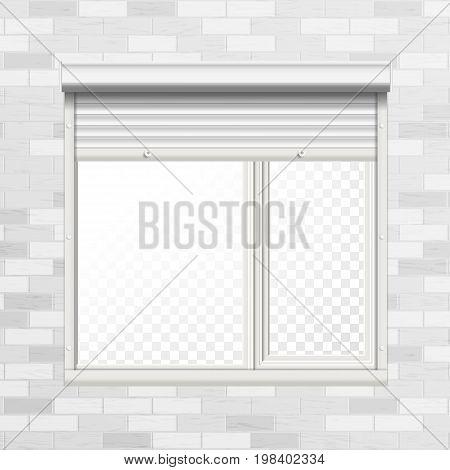 Vector Rolling Shutters. Brick Wall. White Metallic Roller Shutter Illustration.