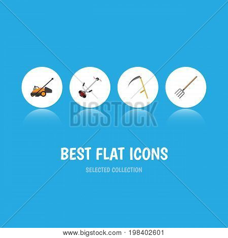 Flat Icon Dacha Set Of Grass-Cutter, Cutter, Lawn Mower And Other Vector Objects