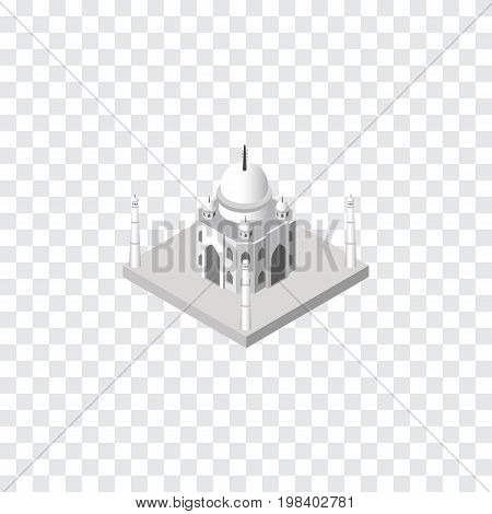 India Mosque Vector Element Can Be Used For Taj, Mahal, Mosque Design Concept.  Isolated Taj Mahal Isometric.
