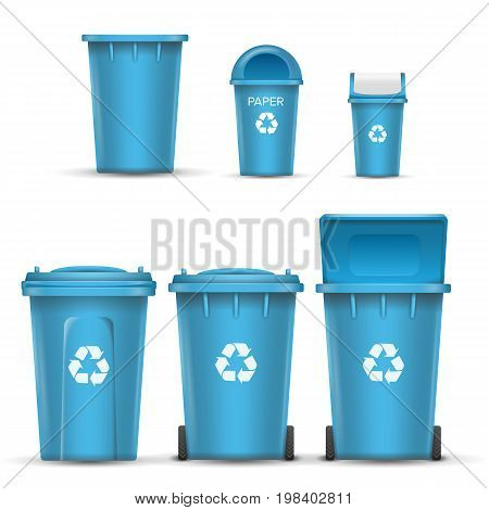Blue Recycling Bin Bucket Vector For Paper Trash. Opened And Closed. Front View. Sign Arrow. Isolated