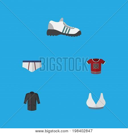 Flat Icon Dress Set Of T-Shirt, Underclothes, Brasserie And Other Vector Objects