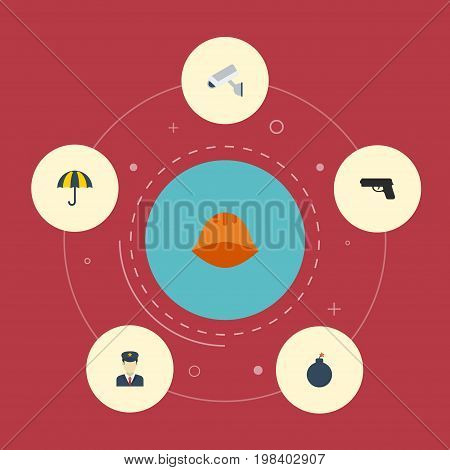 Flat Icons Gun, Explosive, Camera And Other Vector Elements