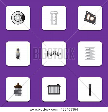 Flat Icon Auto Set Of Metal, Steels Shafts, Combustion And Other Vector Objects
