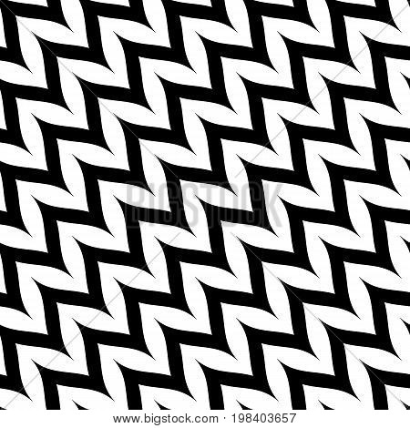 Zigzag chevron seamless pattern. Diagonal curved wavy zig zag lines. Simple stylish abstract geometric background. Monochrome striped texture. Black & white. Design for decor, prints, textile. Herringbone pattern. Diagonal pattern. Design pattern.