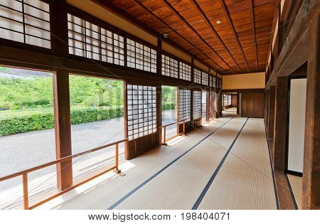 KAKEGAWA JAPAN - MAY 29 2017: Interior of Palace of Second Bailey (Ninomaru Goten rebuilt in 1861) of Kakegawa Castle Japan. Castle was founded in 1497 by Asahina Yasuhiro and demolished in 1869