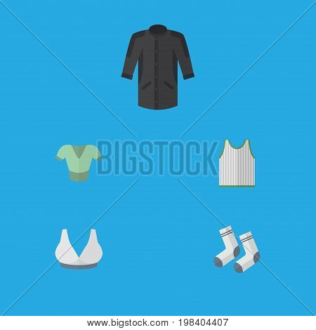 Flat Icon Garment Set Of Singlet, Foot Textile, Uniform And Other Vector Objects