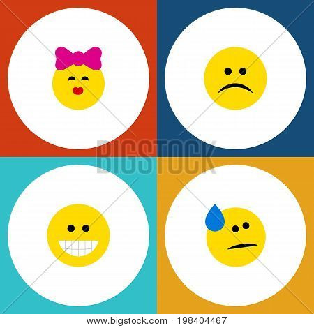 Flat Icon Expression Set Of Tears, Sad, Caress And Other Vector Objects