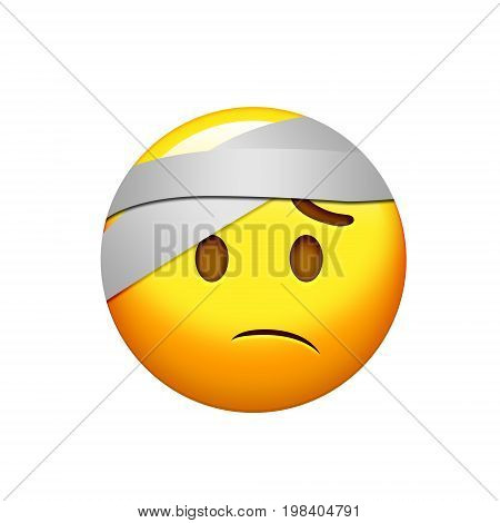 Emoji Yellow Wounded Headache Face With Head Bandage Icon