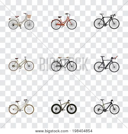 Realistic Fashionable, Old, Competition Bicycle And Other Vector Elements