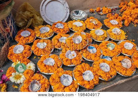 Ganges river candles prepeared for night holy ritual at Varanasi, India.