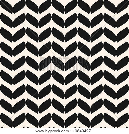 Vector seamless pattern in Scandinavian style. Simple monochrome geometric texture with leaf silhouettes. Natural ornament. Abstract repeat background. Design for home, decor, textile, fabric, cloth. Herringbone pattern.