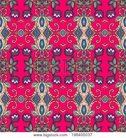 Seamless floral pattern with purple tulips on crimson background. Vector illustration.