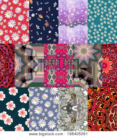 Seamless patchwork pattern with daisies and yarrow flowers. Fashionable print for fabric.
