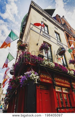 DUBLIN IRELAND - July 15th 2017: detail of the pubs and streets in the Temple Bar district in Dublin Ireland