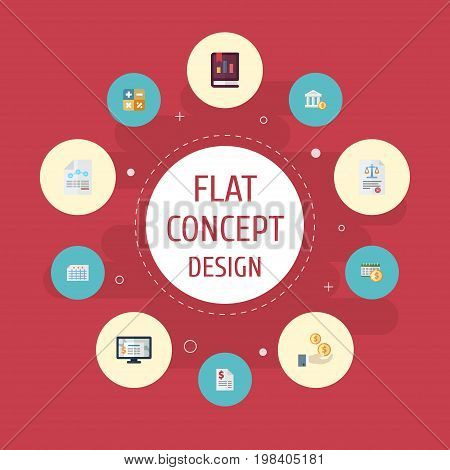Flat Icons Sheet, Act, Accounting System And Other Vector Elements