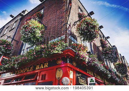 DUBLIN IRELAND - July 15th 2017: detail of the historical traditional Irish pub of Temple Bar in the district named after it in Dublin Ireland