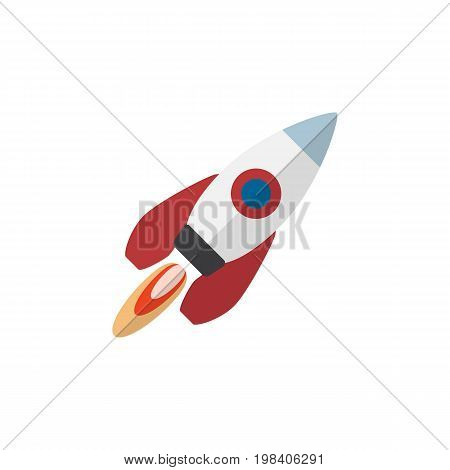 Spaceship Vector Element Can Be Used For Spaceship, Rocket, Engine Design Concept.  Isolated Rocket Flat Icon.