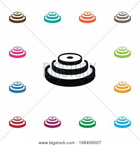 Wheel Vector Element Can Be Used For Wheel, Lbs, Dumbbell Design Concept.  Isolated Lbs Icon.