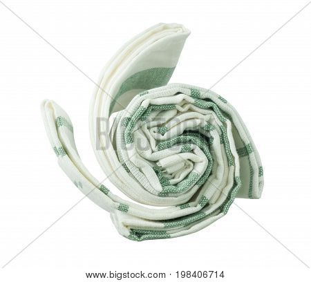 Kitchen Utensil Top View of White and Green Napkin Serviette or Kitchen Towel Isolated on White Background.
