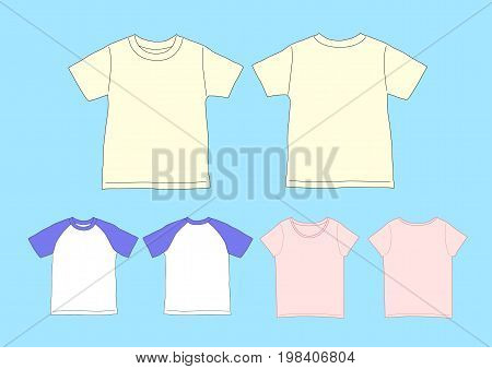 T-shirts Template Raglan sleeve, ladies, - Vector Illustration