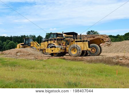 Heavy Construction Equipment at site Georgia, USA.