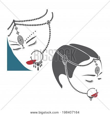 Illustration consisting of two images in the form of female heads in Indian jewelry