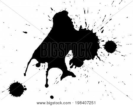 Black ink splatter cut out on and isolated on a white background