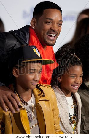 LOS ANGELES, CA - FEB 8: Will, Jaden, & Willow Smith arrive at the Paramount Pictures Justin Bieber: Never Say Never premiere at Nokia Theater L.A. Live on February 8 2011 in Los Angeles, California.