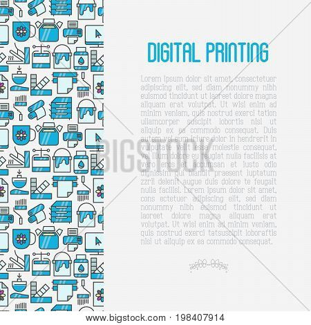 Digital printing concept in circle with thin line icons. Vector illustration for web page, banner, print media.