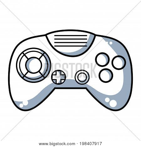 line videogame controller with buttons to play in the console vector illustration