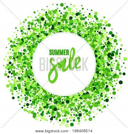 Summer sale vector creative banner with green scattered circles. Summer design. All isolated and layered
