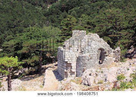 ruin of a chapel while hiking in Baska, island Krk in Croatia