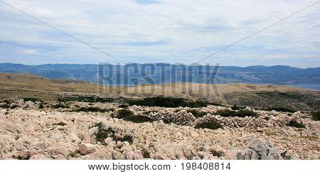 view on mountains while hiking in Baska, island Krk in Croatia