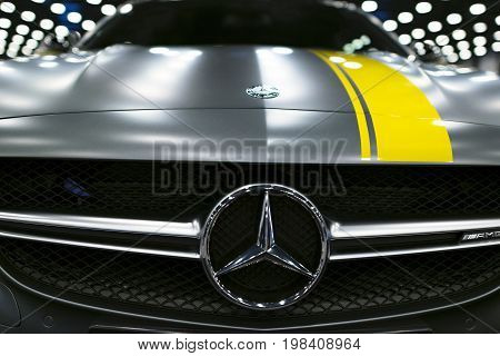 Sankt-Petersburg Russia July 21 2017: Front view of a Mercedes Benz C 63s AMG coupe 2017. Front Headlight. Dark Matt colour. Car exterior details. Photo Taken at Royal Auto Show July 21